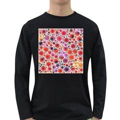 Lovely Allover Flower Shapes Long Sleeve Dark T Shirts