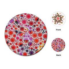 Lovely Allover Flower Shapes Playing Cards (round)