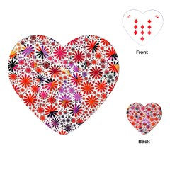 Lovely Allover Flower Shapes Playing Cards (Heart)