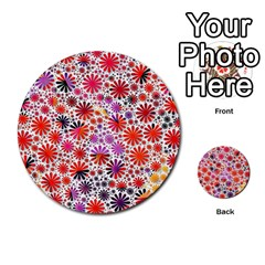 Lovely Allover Flower Shapes Multi-purpose Cards (Round)