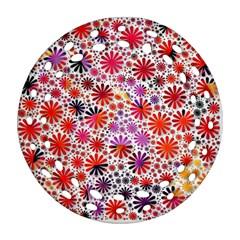 Lovely Allover Flower Shapes Round Filigree Ornament (2Side)