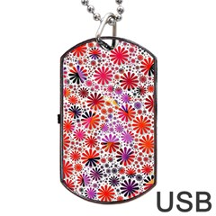 Lovely Allover Flower Shapes Dog Tag Usb Flash (one Side)