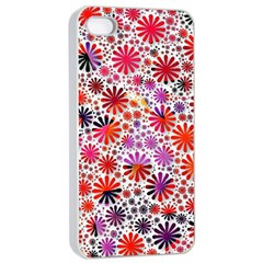 Lovely Allover Flower Shapes Apple iPhone 4/4s Seamless Case (White)