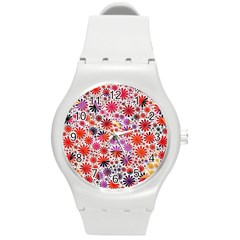 Lovely Allover Flower Shapes Round Plastic Sport Watch (M)