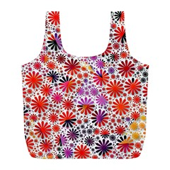 Lovely Allover Flower Shapes Full Print Recycle Bags (l)