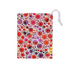 Lovely Allover Flower Shapes Drawstring Pouches (medium)
