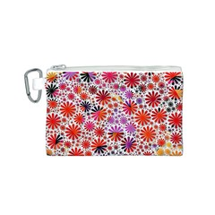 Lovely Allover Flower Shapes Canvas Cosmetic Bag (S)