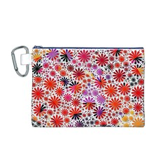 Lovely Allover Flower Shapes Canvas Cosmetic Bag (M)