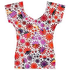 Lovely Allover Flower Shapes Women s V-Neck Cap Sleeve Top