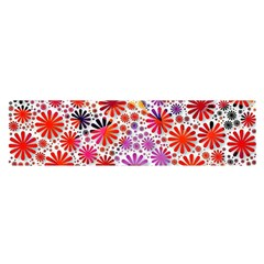 Lovely Allover Flower Shapes Satin Scarf (oblong)