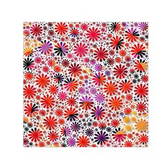 Lovely Allover Flower Shapes Small Satin Scarf (Square)