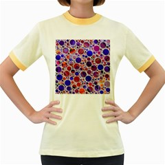Lovely Allover Hot Shapes Blue Women s Fitted Ringer T Shirts