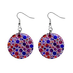 Lovely Allover Hot Shapes Blue Mini Button Earrings