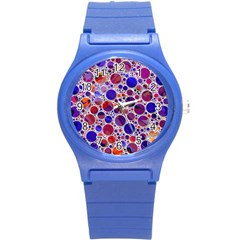 Lovely Allover Hot Shapes Blue Round Plastic Sport Watch (S)