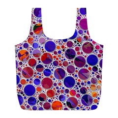 Lovely Allover Hot Shapes Blue Full Print Recycle Bags (L)