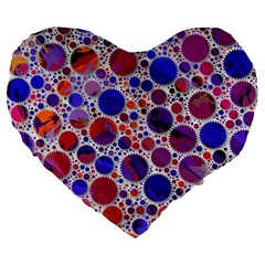 Lovely Allover Hot Shapes Blue Large 19  Premium Flano Heart Shape Cushions
