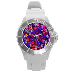 Lovely Allover Hot Shapes Round Plastic Sport Watch (L)