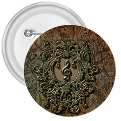 Elegant Clef With Floral Elements On A Background With Damasks 3  Buttons