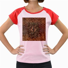 Elegant Clef With Floral Elements On A Background With Damasks Women s Cap Sleeve T Shirt