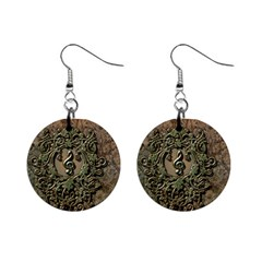 Elegant Clef With Floral Elements On A Background With Damasks Mini Button Earrings
