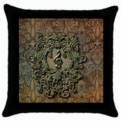 Elegant Clef With Floral Elements On A Background With Damasks Throw Pillow Cases (Black)