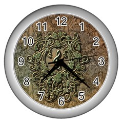 Elegant Clef With Floral Elements On A Background With Damasks Wall Clocks (Silver)