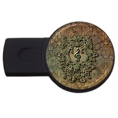 Elegant Clef With Floral Elements On A Background With Damasks USB Flash Drive Round (2 GB)