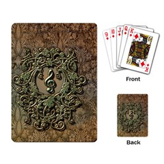 Elegant Clef With Floral Elements On A Background With Damasks Playing Card