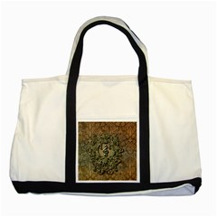 Elegant Clef With Floral Elements On A Background With Damasks Two Tone Tote Bag