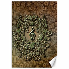 Elegant Clef With Floral Elements On A Background With Damasks Canvas 12  x 18