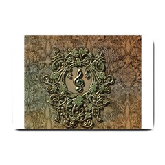 Elegant Clef With Floral Elements On A Background With Damasks Small Doormat