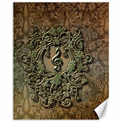 Elegant Clef With Floral Elements On A Background With Damasks Canvas 11  X 14