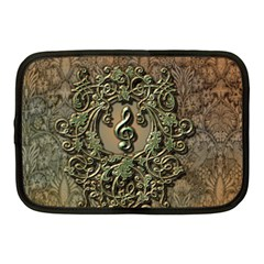 Elegant Clef With Floral Elements On A Background With Damasks Netbook Case (Medium)