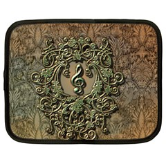 Elegant Clef With Floral Elements On A Background With Damasks Netbook Case (Large)