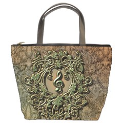 Elegant Clef With Floral Elements On A Background With Damasks Bucket Bags