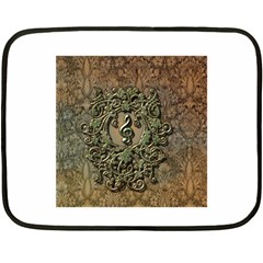 Elegant Clef With Floral Elements On A Background With Damasks Fleece Blanket (Mini)
