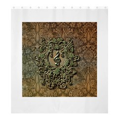 Elegant Clef With Floral Elements On A Background With Damasks Shower Curtain 66  x 72  (Large)