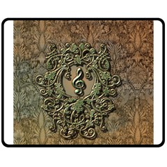 Elegant Clef With Floral Elements On A Background With Damasks Fleece Blanket (medium)