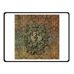 Elegant Clef With Floral Elements On A Background With Damasks Fleece Blanket (Small)
