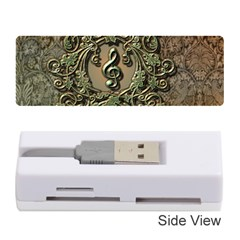 Elegant Clef With Floral Elements On A Background With Damasks Memory Card Reader (Stick)