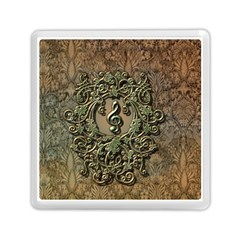 Elegant Clef With Floral Elements On A Background With Damasks Memory Card Reader (Square)