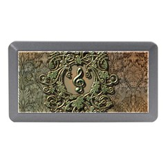 Elegant Clef With Floral Elements On A Background With Damasks Memory Card Reader (Mini)