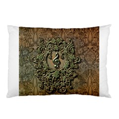 Elegant Clef With Floral Elements On A Background With Damasks Pillow Cases (two Sides)