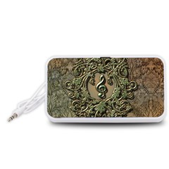 Elegant Clef With Floral Elements On A Background With Damasks Portable Speaker (White)