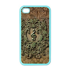 Elegant Clef With Floral Elements On A Background With Damasks Apple iPhone 4 Case (Color)