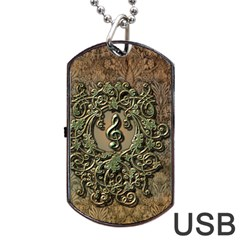 Elegant Clef With Floral Elements On A Background With Damasks Dog Tag Usb Flash (two Sides)