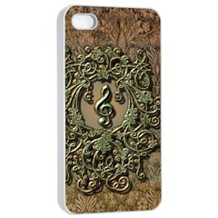 Elegant Clef With Floral Elements On A Background With Damasks Apple Iphone 4/4s Seamless Case (white)