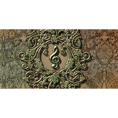 Elegant Clef With Floral Elements On A Background With Damasks YOU ARE INVITED 3D Greeting Card (8x4)