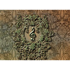 Elegant Clef With Floral Elements On A Background With Damasks Birthday Cake 3D Greeting Card (7x5)