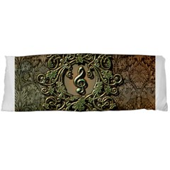 Elegant Clef With Floral Elements On A Background With Damasks Body Pillow Cases (dakimakura)